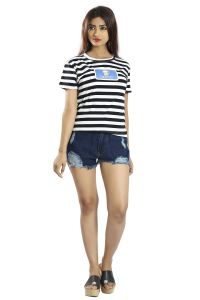 Snob Bee Navy Blue Stripes Graphic Tee (code - 15041d108igh_lightblue)