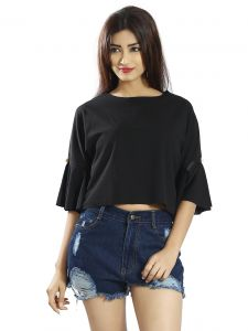 Snob Bee Black Pearl Ruffle Sleeve Top (code - 15961d152igh_black)