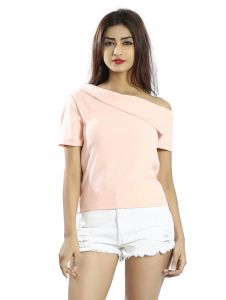 Snob Bee Pink Flap Down One Shoulder Top (code - 15961d301igh_pink)