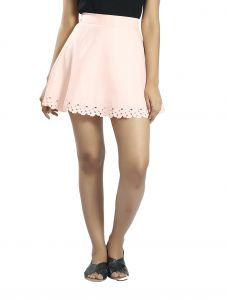 Snob Bee Laser Cut Mini Pink Skirt (Code - 15961D67IGH_Pink)
