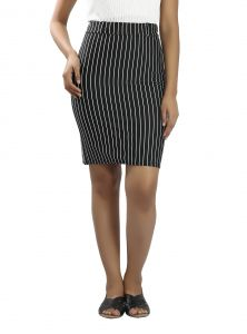 Snob Bee Stripe Up Black Skirt (code - 15961d68igh_black)