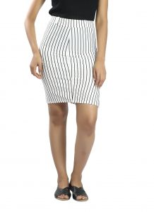 Snob Bee Stripe Up White Skirt (code - 15961d68igh_white)