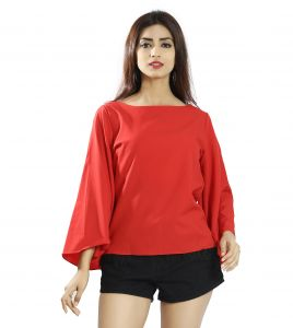 Snob Bee Red Bell Sleeve Top (code - 17361d271igh_red)