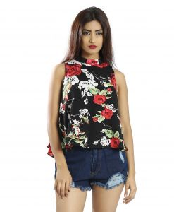 Snob Bee Multi Floral Halter Neck Top (code - 17361d292igh_multi)