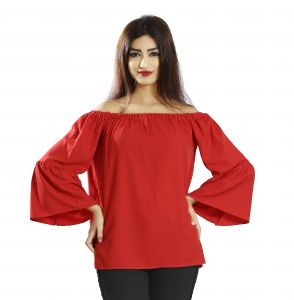 Snob Bee Red Ruffle Sleeve Top (code - 17361d308igh_red)