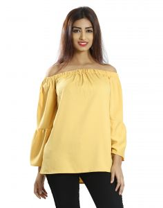 Snob Bee Yellow Ruffle Sleeve Top (code - 17361d308igh_yellow )