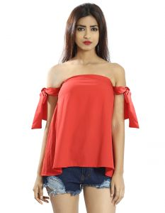 Snob Bee Orange Tie Up Off Shoulder Top (code - 17361d313igh_orange)
