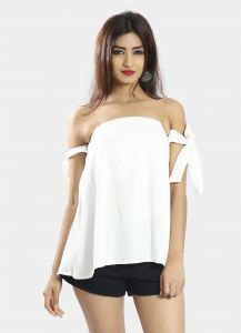 Snob Bee White Tie Up Off Shoulder Top (code - 17361d313igh_white)