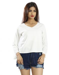 Snob Bee White Bell Sleeve Top (code - 17361d51igh_white)