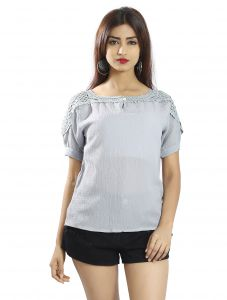 Snob Bee Lightgrey Crochet Detail Top (code - 17361n55igh_lightgrey)
