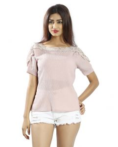 Snob Bee Light Pink Crochet Detail Top (code - 17361n55igh_purple)