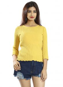 Snob Bee Yellow Ruffled Hem Basics Top (code - 19741s299igh_yellow)