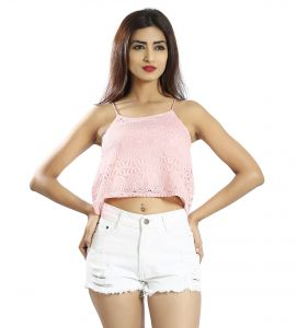 Snob Bee Pink Lace Cami Top (code - 19751d106igh_pink)
