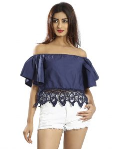 Snob Bee Blue Lacey Hem Off Shoulder Top (code - 19751d319igh_blue)