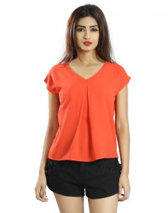 Snob Bee Orange Semi Detailed Top (code - 19751d99igh_orange)