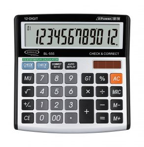 Stationery - Bambalio 12 Digits Electronic Calculator With Big Digits Display & Metallic Panel -BL-555