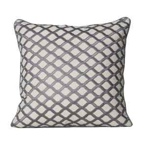 Monogram Beige Square Embroidery Cotton Cushion Cover-5 PC Setbeige (code - 552a1575)