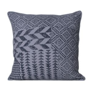 Monogram Grey Square Cotton Cushion Cover Hand Print- 5 Pcs Set-Grey (Code - 552A1588)