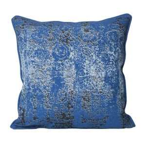 Monogram Blue Square Cotton Cushion Cover Print- 5 PCs Set -blue (code - 552a1593)
