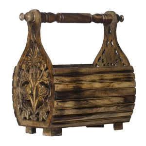 Furniture - Monogram Decorative Wooden Magazine Rack - Natural Color (Code - 552A1606)