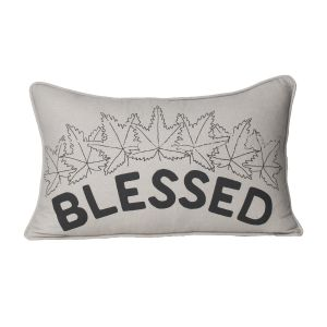 Monogram Light Grey Rectangular Cotton Cushion Cover Hand Printed-5 Pcs Set-Light Grey (Code - 552A1640)