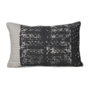 Monogram Light Grey Rectangular Cotton Cushion Cover Hand Printed-5 Pcs Set-Light Grey (Code - 552A1642)