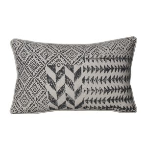 Monogram Light Grey Rectangular Cotton Cushion Cover Hand Printed-5 Pcs Set-Light Grey (Code - 552A1644)