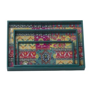 Monogram 3 PCs Set Mdf Wooden Serving Tray With Special Coating - Multicolor (code - 552a1673)