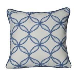 Monogram Off White Square Cotton Cushion Cover With Hand Embroidery-5pcs Set -off White-blue (code - 552a1721)