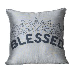 Monogram Grey Square Polyester Cushion Cover Hand Print- 5 Pcs Set -Grey (Code - 552A1733)