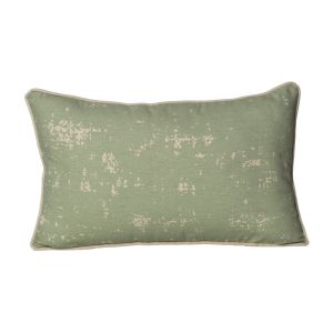 Monogram Green Rectangular Cotton Cushion Cover Hand Print-5 PCs Set-green-beige (code - 552a1747a)