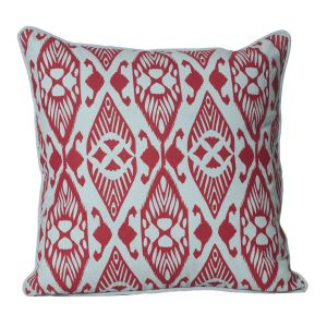 Monogram Red Square Cotton Printed Cushion Cover- 5 PCs Set-red-turquoise (code - 552a1764)