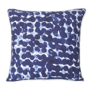 Monogram Blue Square Cotton Cushion Cover Hand Print- 5 PCs Set -blue - Off White (code - 552a1789)