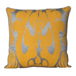 Monogram Mustard Square Polyester Cushion Cover Hand Print- 5 Pcs Set -Mustard - Grey (Code - 552A1797)