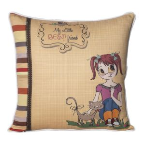 Monogram Multicolour Square Polyester Cushion Cover With Digital Print-5 Pcs Set -Multicolour (Code - 552A1800)