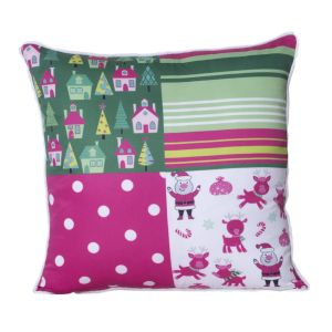 Monogram Multicolour Square Polyester Cushion Cover With Digital Print-5 PCs Set -multicolour (code - 552a1819)