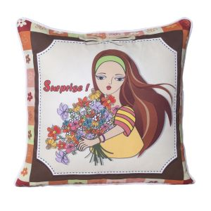 Monogram Multicolour Square Polyester Cushion Cover With Digital Print-5 PCs Set -multicolour (code - 552a1821)