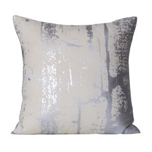 Monogram White Square Cotton Cushion Cover Foil Print- 5 Pcs Set-White - Grey (Code - 552A1847)