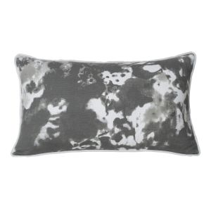 Monogram White Rectangular Cotton Cushion Cover Hand Print- 5 PCs Set -white - Dark Grey (code - 552a1869)