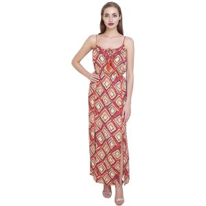 Coral Printed Cotton Long Beaded Dress(code-sg-dr-001)