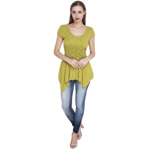 Tops & Tunics - Green Cotton Viscose Stretchable Top(Code-SG-TP-002)