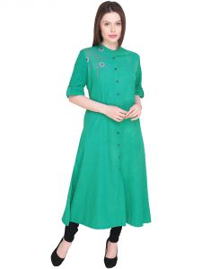 Embroidered Green Color A Line Cotton Kurti(code-sg-wk-022)