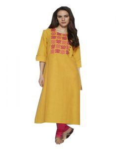 Yellow Embroidery Cotton Kurti (code-sg-wk-006)
