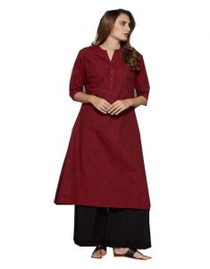 New Brand Marron Cotton Long Kurti(code-sg-wk-002)
