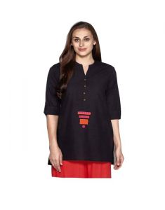 Westside Black Cotton Shorty Kurti ( Code -sg-wsk-001)