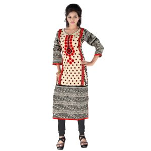 Vedik Style Womens Calf Length Printed Cream Cotton Kurti(code - Jdh1511)