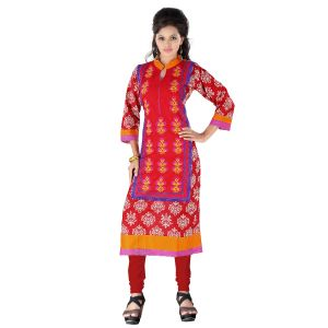 Vedik Style Womens Regular Fit Red Cotton Kurti Featuring 3/4th Sleeves(code - Jdh1512)