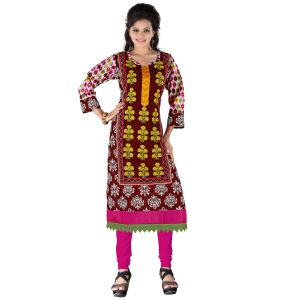 Vedik Style Womens Regular Fit Calf Length Brown Cotton Kurti(code - Jdh1513)