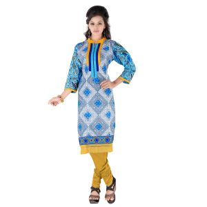 Vedik Style Womens Sky Blue Regular Fit Cotton Kurti(code - Jdh1515)