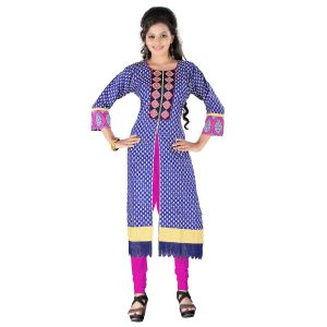 Vedik Style Womens Royal Blue Calf Length Printed Cotton Kurti (code - Jdh1518)
